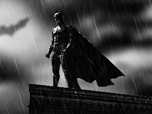 Rain, Batman, the roof