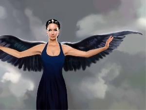 wings, brunette, jennifer lawrence, The Hunger Games, angel, Black