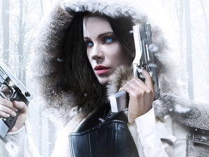 Underworld: Blood Wars, Selene, Eyes, Pistols, Blue, movie, Kate Beckinsale, hood